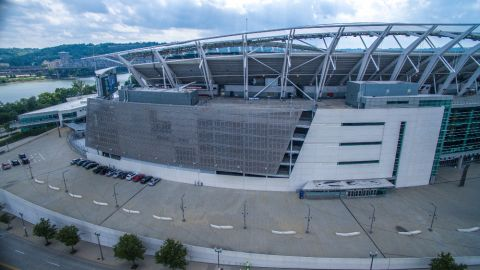 Side View of the Perforated Metal Cladding for the Paul Brown Stadium