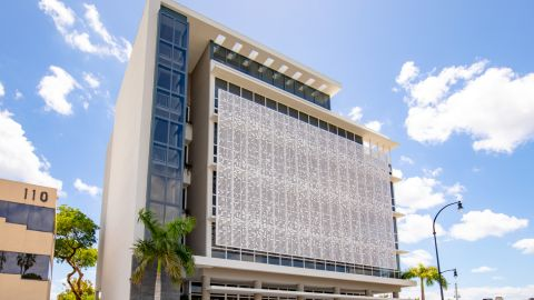 Perforated Metal Cladding Installed for Accesso Partners