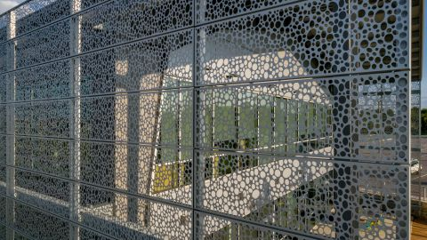 Looking Through the Perforated Metal Cladding for The Lakes at Tech Ridge