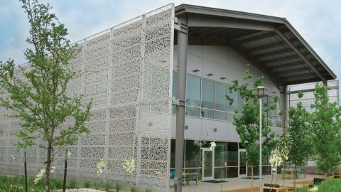 Front View of the Perforated Metal Cladding for The Lakes at Tech Ridge