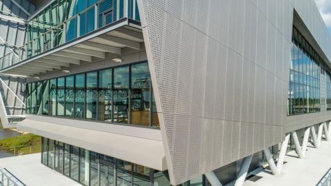Side view of the Perforated Metal Cladding for the Water Inst. of the Gulf