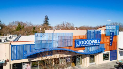 Front View of the Perforated Metal Facade for Goodwill