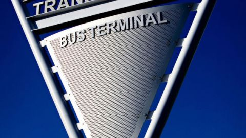 Triangular Bus Terminal Sign Made Out of Perforated Metal
