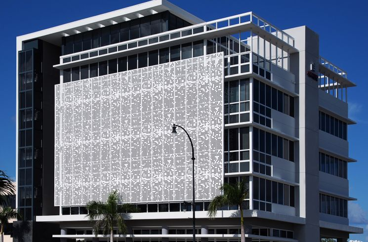 perforated metal cladding facade