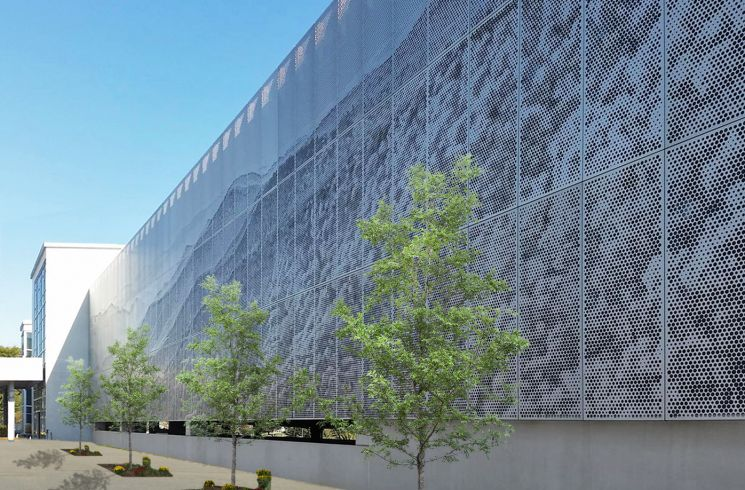 architectural perforated metal imaging facade
