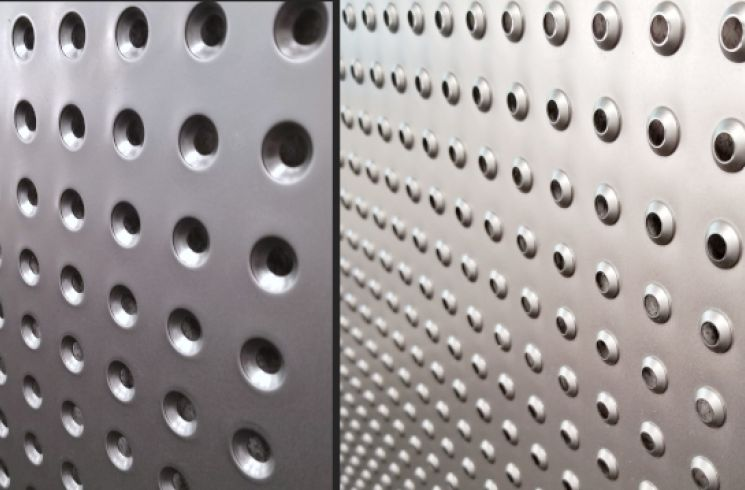Perforated shelf with dimpled holes, front and back view