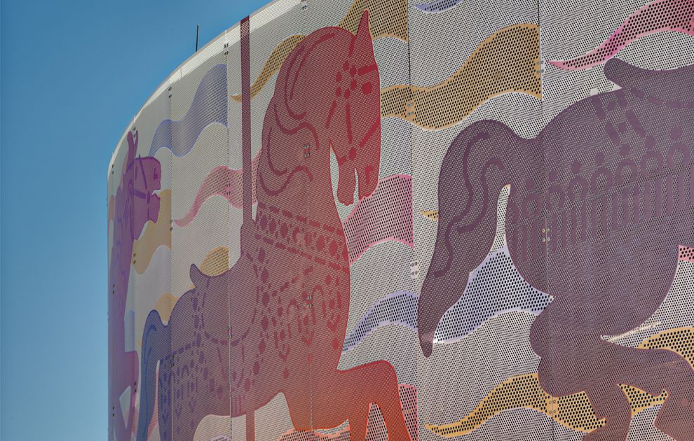 Colorful Horses Design on Perforated Metal Panels