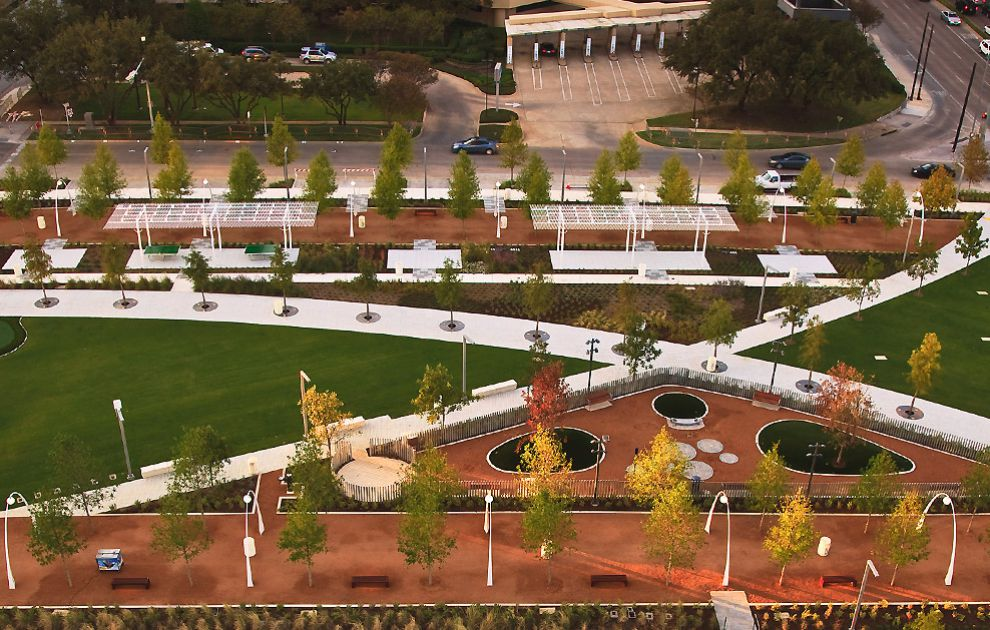 Aerial View of a Park Featuring our Metal Tree Grating